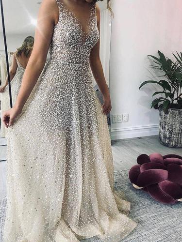 Elegant v neck sleeveless bling sunshine skater dress evening dresses