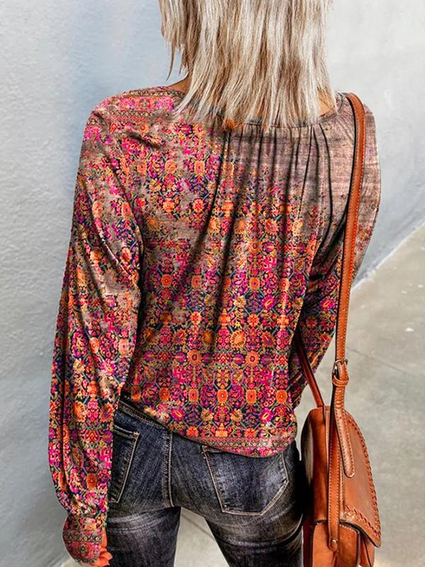 Floral long sleeve  round neck shirt blouses