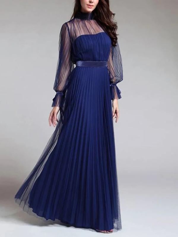Elegant women  blue high neck long sleeve long dress evening dresses