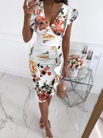 Sexy V neck Lotus sleeve bodycon dresses