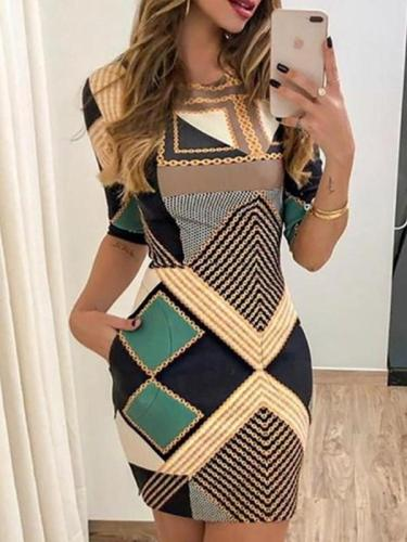 Round neck sexy special printed short sleeve bodycon dresses