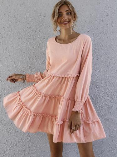 Sweet long sleeve plain skater dresses