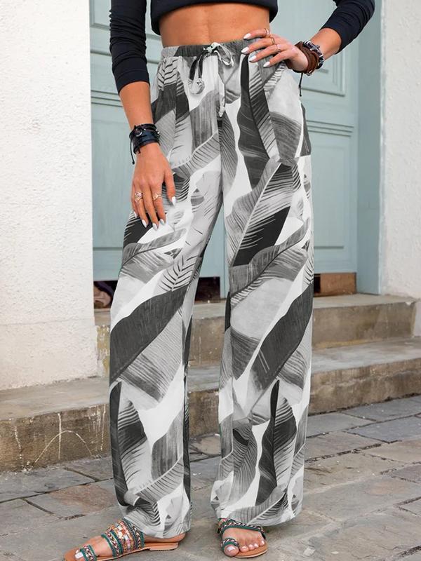 Women long pants tie waist leaf printed pants