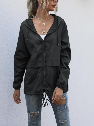 Plain cool women coats casual hoodied jackets