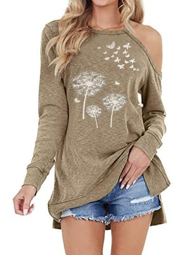 One off shoulder flower printed women fashion long T-shirts tops