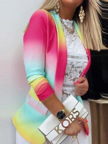 Gradient style turn down neck long sleeve women Blazers