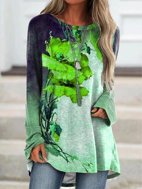 Autumn Round neck floral printed long sleeve long T-shirts