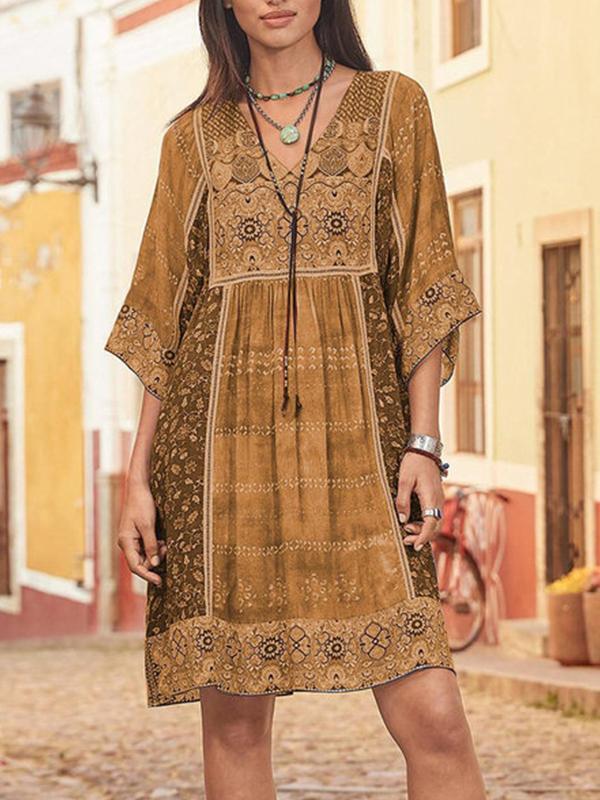 Bohemia style v neck half sleeve women shift dresses