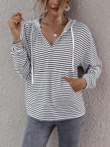 Stripe casual hoodies for women