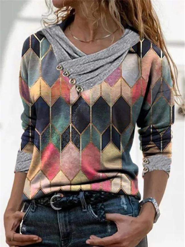 Casual Long Sleeve Cotton-Blend Shirts & Tops