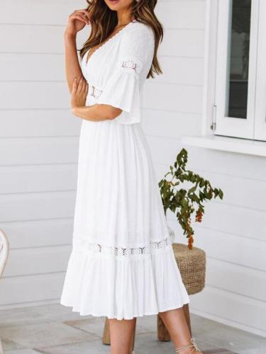 V-neck Lace Mid-sleeve Large Dress summer maxi dresses for women