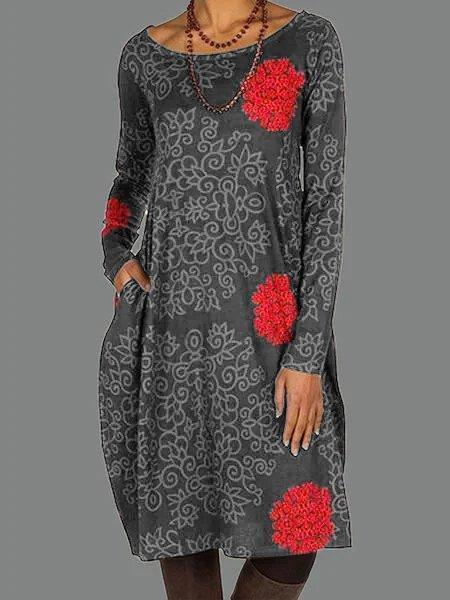 Deep Brown Cotton Floral Cocoon Long Sleeve Dresses