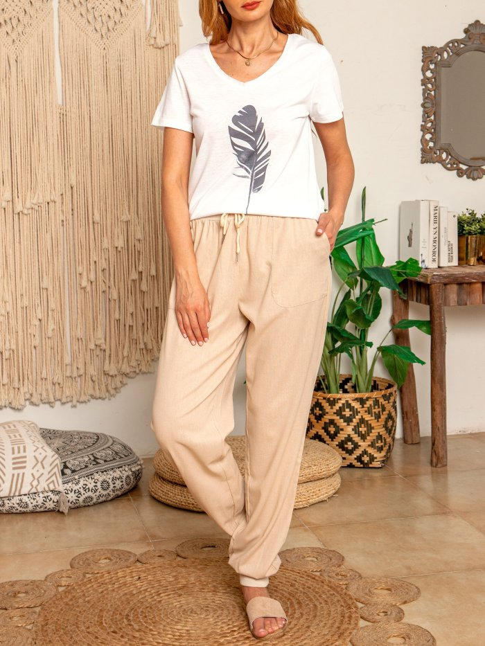 White V Neck Printed Casual Cotton-Blend Shirts & Tops