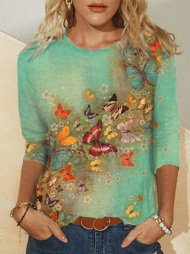 Crew Neck Long Sleeve Butterfly Print Shirts & Tops