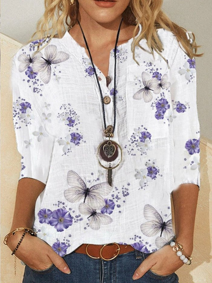Casual Cotton-Blend 3/4 Sleeve Shirts & Tops