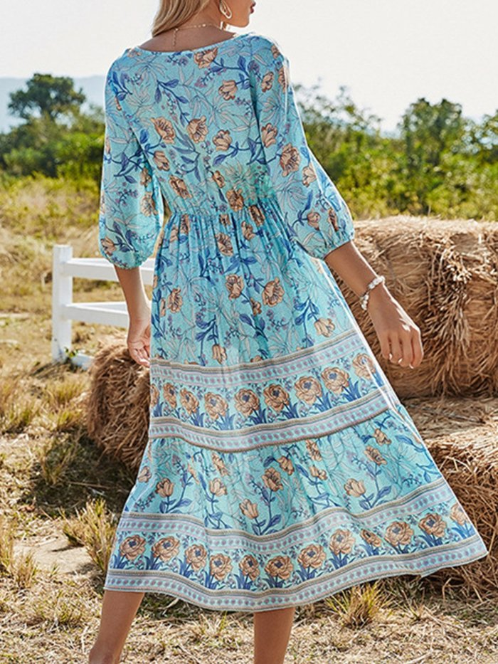 Floral-Print Half Sleeve Boho Shift Dresses