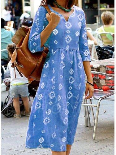 Half Sleeve V Neck Dresses summer maxi dresses for women