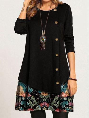 Casual Loose Round Neck Floral Long Sleeve Dress