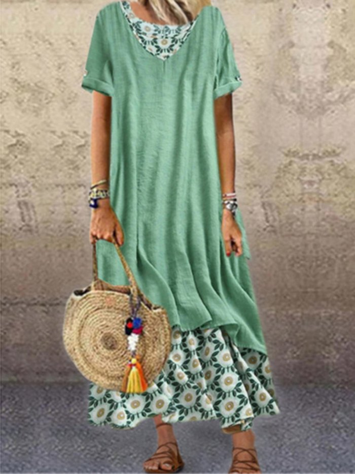 Plus size printed short-sleeved fake two-piece long skirt Paneled Floral Short Sleeve A-Line Dresses summer maxi dresses for women hawaiian dress