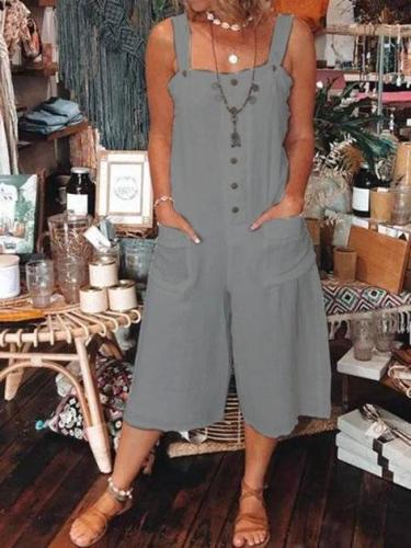 Spaghetti Casual  Pockets Plus-size One-Pieces