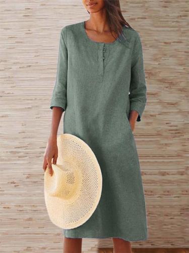 Casual 3/4 Sleeve Crew Neck Dress summer maxi dresses for women
