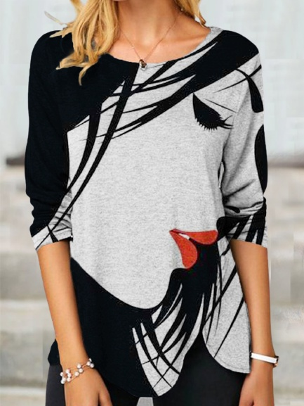 Cotton-Blend Casual Long Sleeve Abstract Shirts & Tops