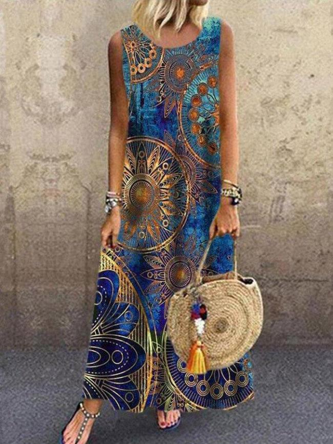 Blue Sleeveless Casual Printed Maxi Dresses summer maxi dresses for women