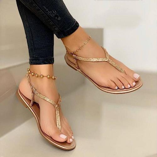 Women Shiny Daily Summer Flat Heel Sandals