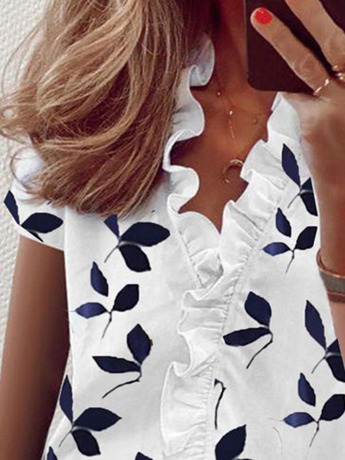 Floral Elegant V-Neckline Short Sleeve Blouses