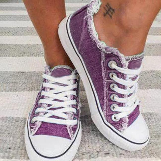 Women Comfy Canvas Lace Up Flat Heel Denim Sneakers