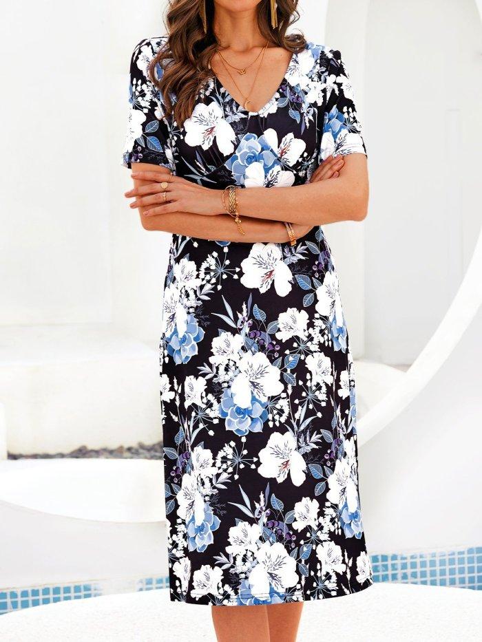 Short Sleeve Floral-Print Dresses