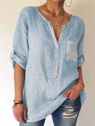 Shirt Collar Shift Casual Long Sleeve Shirts & Tops