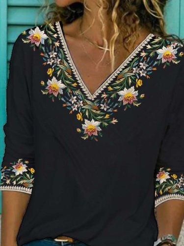 Floral Half Sleeve Printed  Cotton-blend  V neck  Vintage  Summer  Black Top