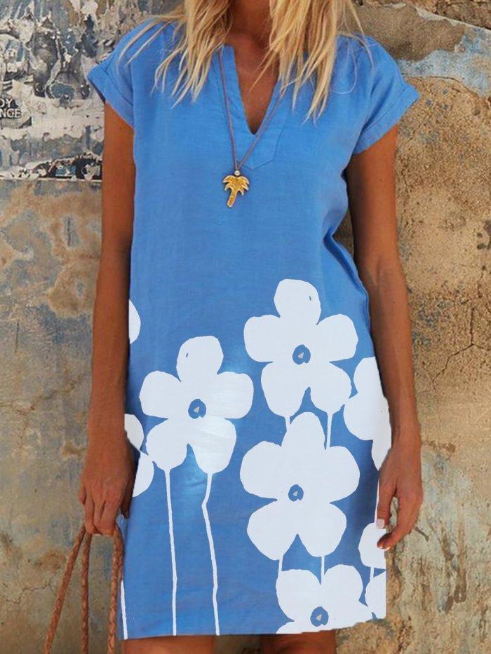 Short Sleeve Casual Floral Cotton Dresses