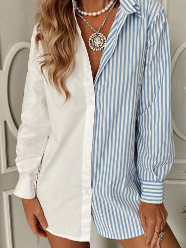 Buttoned Long Sleeve Stripes Shirts & Tops Fashion Blouses