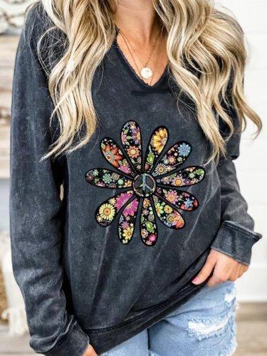V Neck Floral Casual Sweatshirt