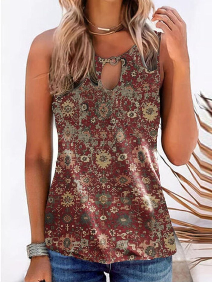 Casual Sleeveless Shirts & Tops Printed Vests for women