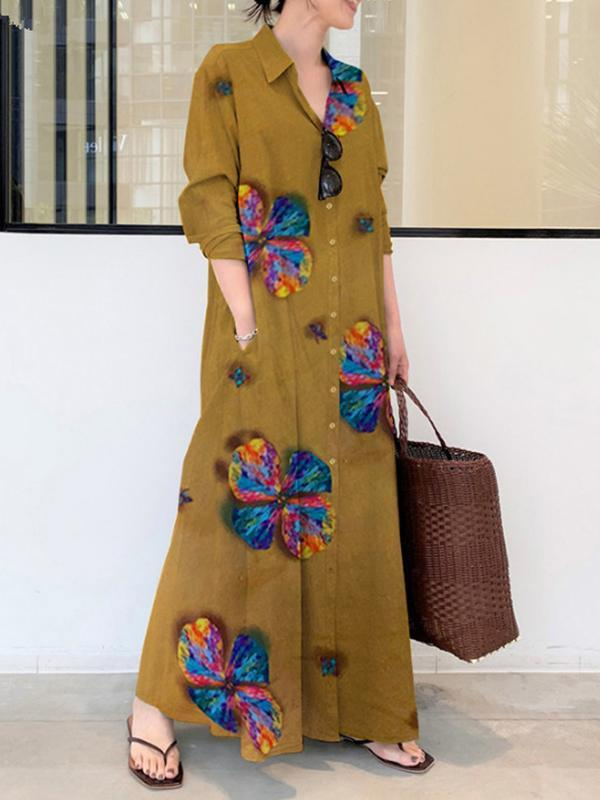 Printed lapel long-sleeved pocket simple loose literary leisure long shirt dress summer maxi dresses for women