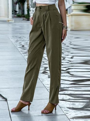 Fashion slim pants solid color women's trousers