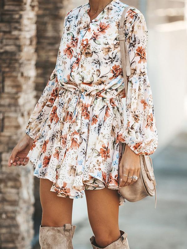 Date look V neck printed floral dresses long sleeve autumn skater dresses