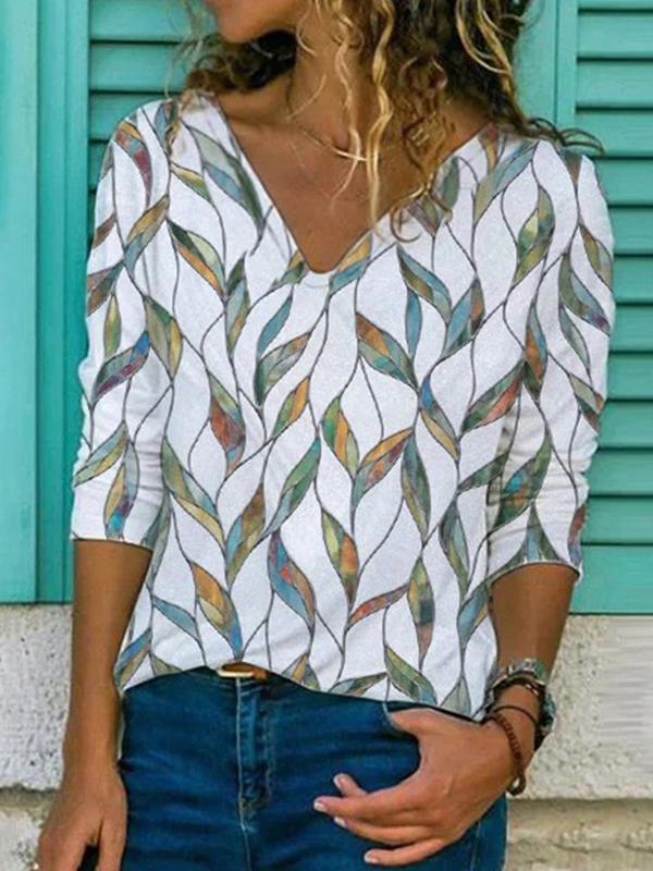 Elegant v neck leaf printed women long sleeve T-shirts