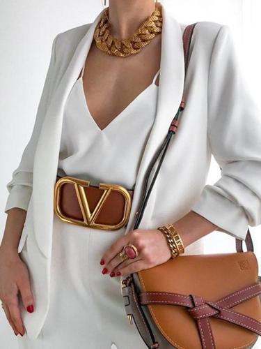 Fashion lapel slim cardigan plain coats blazers