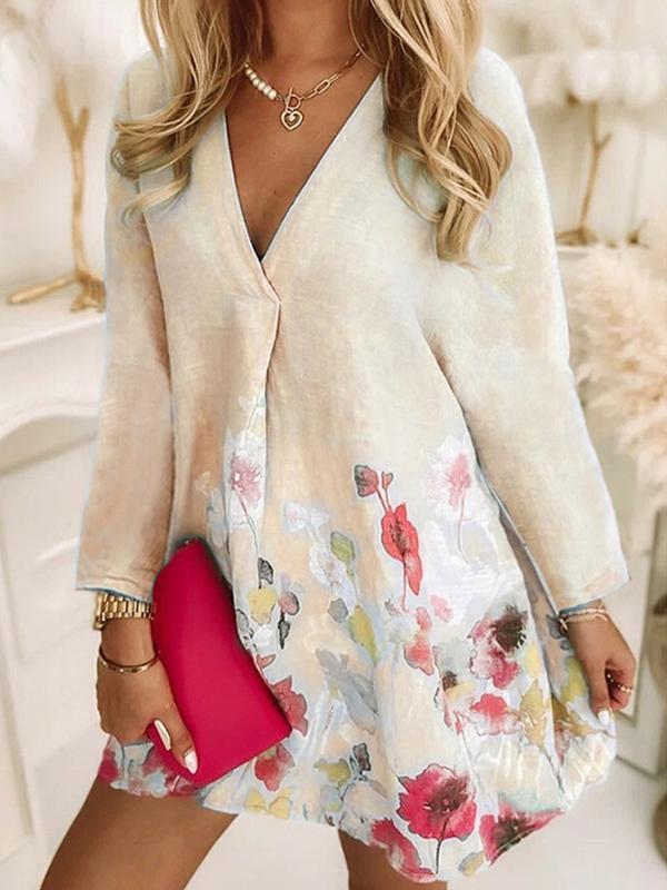 Autumn long sleeve v neck printed beautiful flower skater dresses