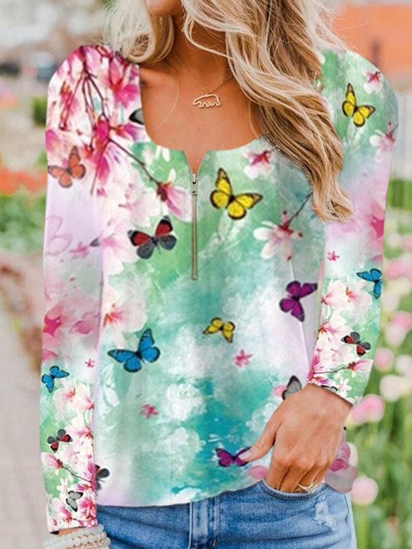 Women zipper neck floral printed long sleeve autumn blouses & tops