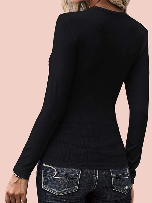 Women U neck sexy buttoned plain long sleeve T-shirts Basic tops