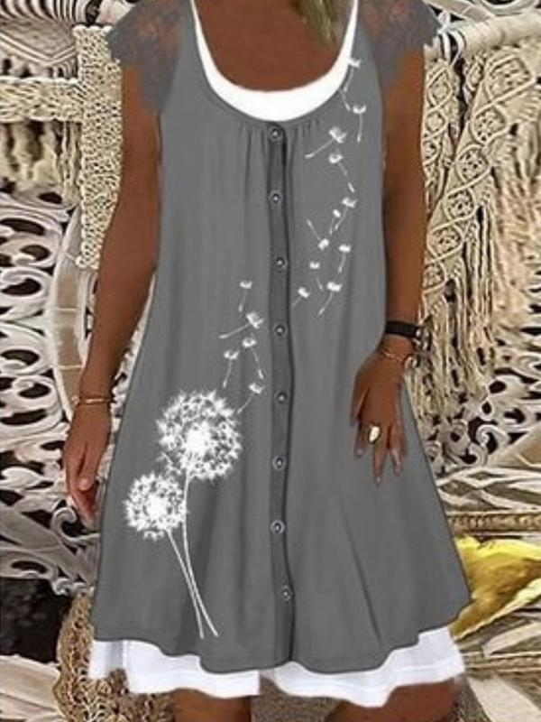 Loose Round neck buttoned short sleeve printed mini dresses for women