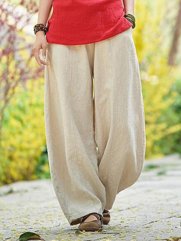 Cotton and linen bloomers meditation elastic waist large size loose trousers women casual pants