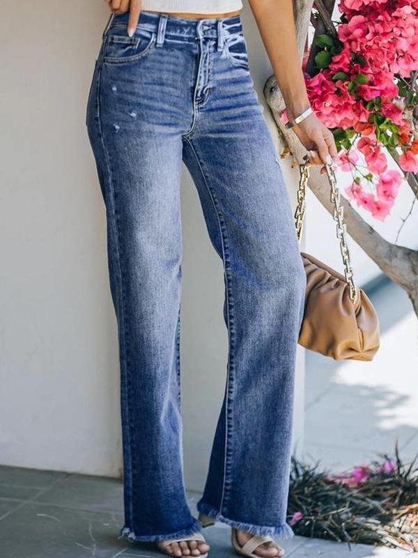 Blue denim women long jeans autumn pants