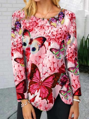 Fashion round neck butterfly hem button irregular long sleeve T-shirts