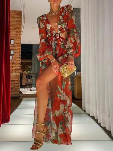Sexy Printed Lantern Long Sleeve V-Neck Slit Dress Vacation dresses